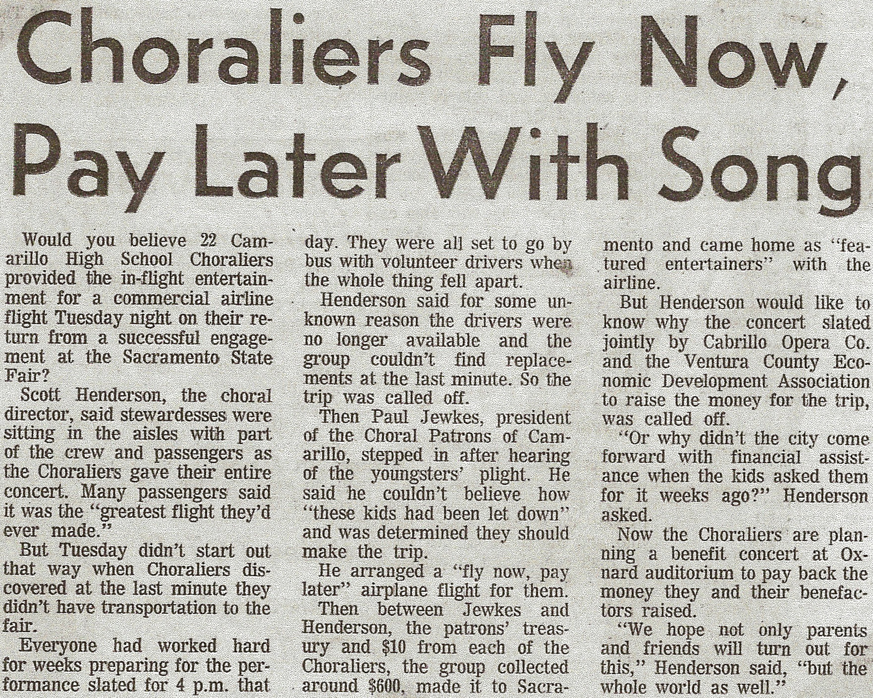 Choraliers the today generation for Fly now and pay later